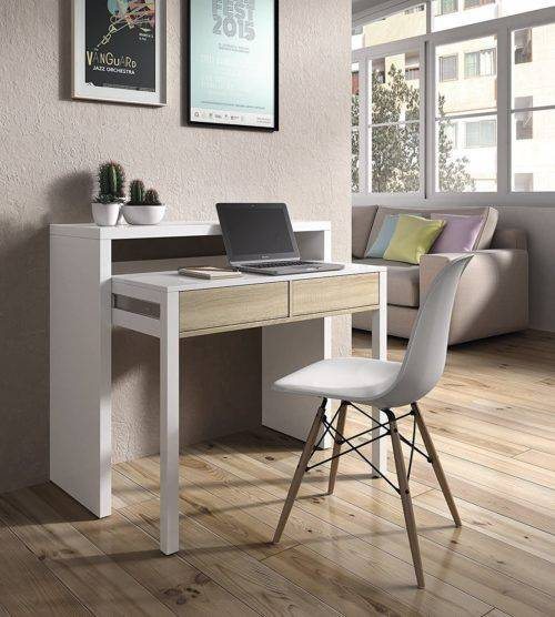 Habitdesign 0F4582A - Mesa Escritorio Extensible, Mesa Estudio Consola, Color Blanco Artik y Roble Canadian